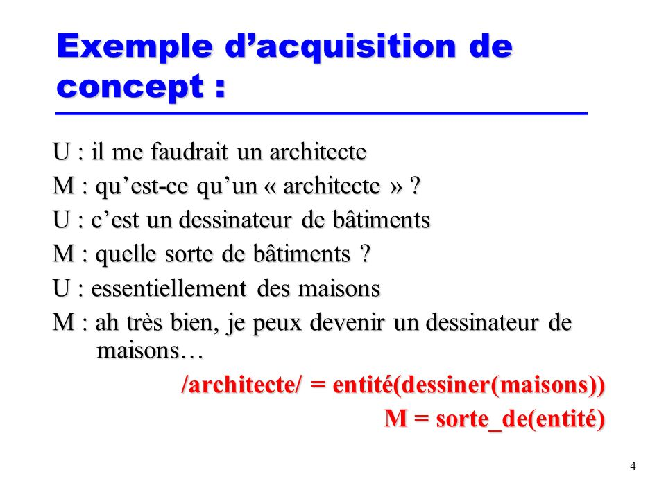 Exemple dacquisition de savoir-faire : U : dessine une maison M : montre-moi comment faire U : voilà cest fini M : comment veux-tu que jappelle cette maison .