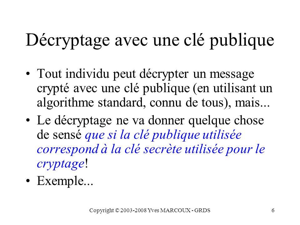 Copyright © 2003-2008 Yves MARCOUX - GRDS7 Exemple 1 Individu qui crypte: A Clé secrète de A: S A Message crypté: S A (M) = C Clé publique de A: P A Décryptage avec la clé publique de A: P A (C) = P A ( S A (M)) = M On obtient le message originel M