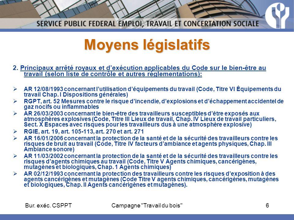 Bur.exéc. CSPPTCampagne Travail du bois 7 Moyens législatifs 3.