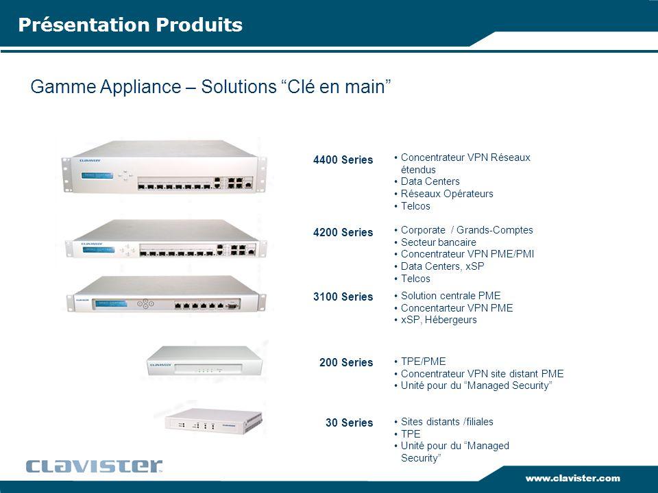 www.clavister.com Performances & Spécifications Clavister Security Gateway 30 - 4400 Series Votre solution de sécurité ne doit jamais devenir le maillon faible de votre réseau, indépendemment du débit existant et du trafic dans votre entreprise.