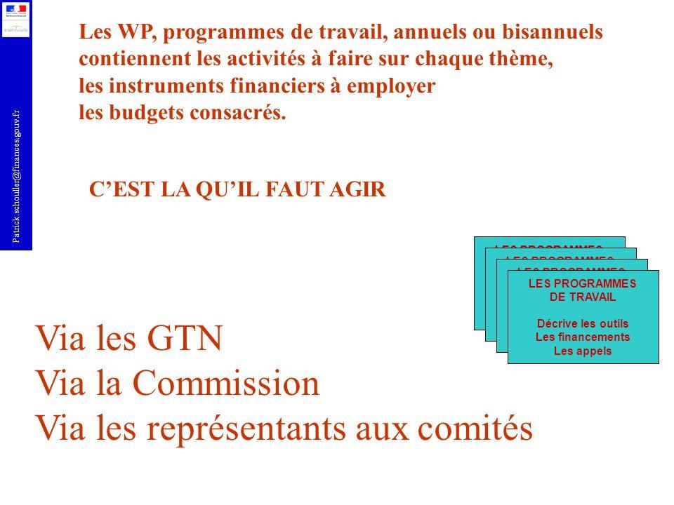 Patrick.schouller@finances.gouv.fr Via les GTN - des structures réunissant, par thématique, les ministères concernés, les représentants des acteurs - La liste des GTN est disponible auprès du MESR et sur EUROSFAIR