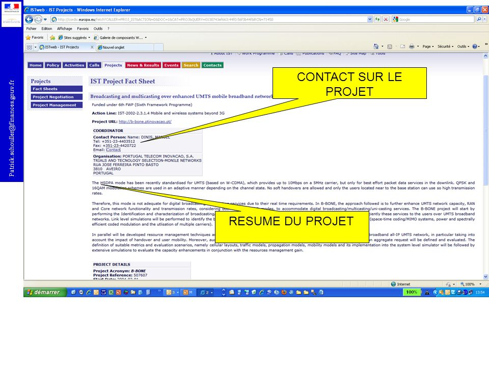Patrick.schouller@finances.gouv.fr DETAILS ADMINSITRATIFS PROJET AUTRES PARTENAIRES