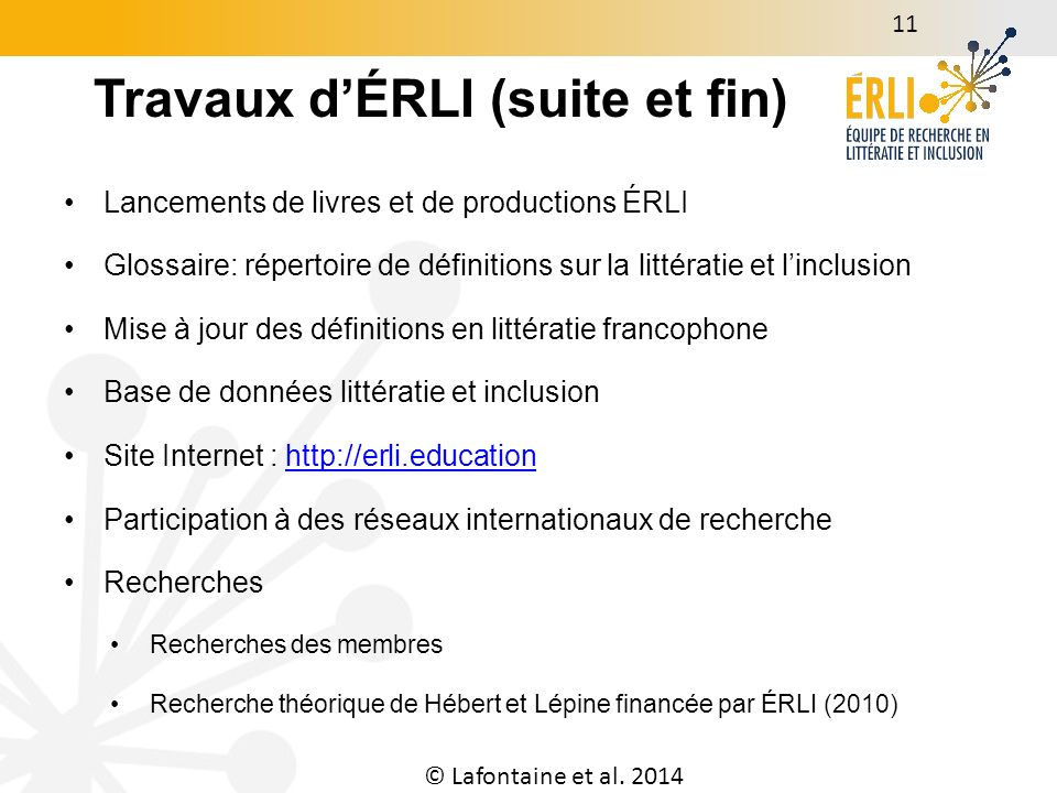 © Lafontaine et al. 2014 12