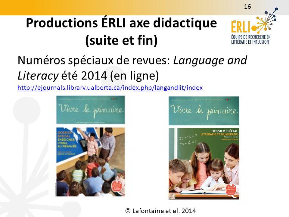 Productions ÉRLI axe environnements éducatifs et inclusifs 17 Napperon littératie http://www.lizannelafontaine.com/contribute_documents/na pperon-final-25-06-13.pdf http://www.lizannelafontaine.com/contribute_documents/na pperon-final-25-06-13.pdf Programme de santé buccodentaire w4.uqo.ca/dents (en collaboration); Amadou Doumbouya et Ruel, 2014) Moreau, A.
