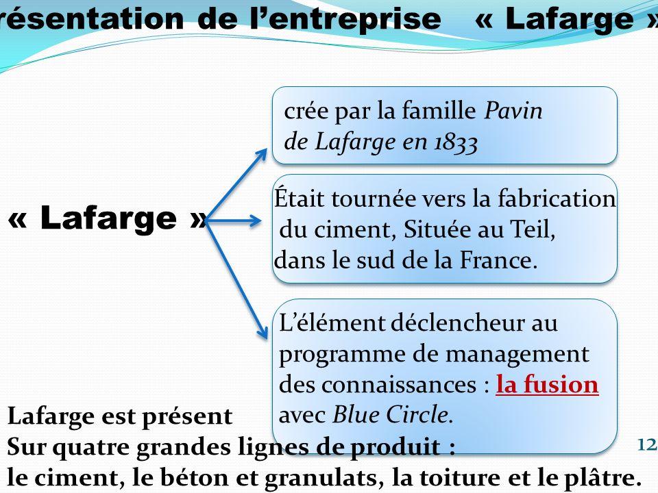 1/Présentation de lentreprise « Lafarge » Le groupe Lafarge sest donc doté dune nouvelle ambition pour manager ses connaissances 13 Créant la fonction Corporate Knowledge Manager en mars 2002.