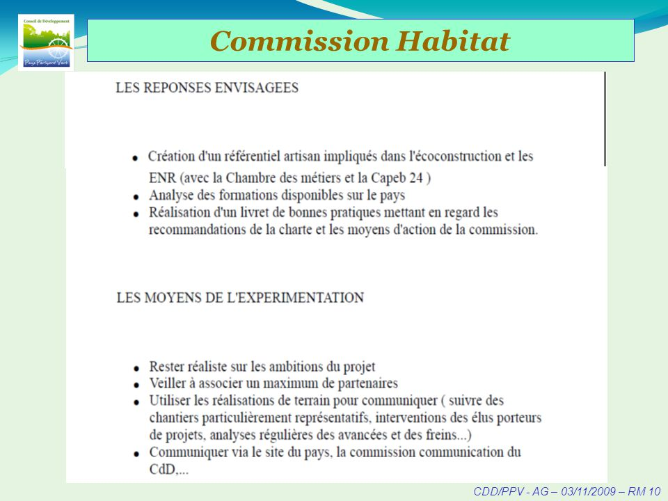 CDD/PPV - AG – 03/11/2009 – RM 11 Commission Habitat