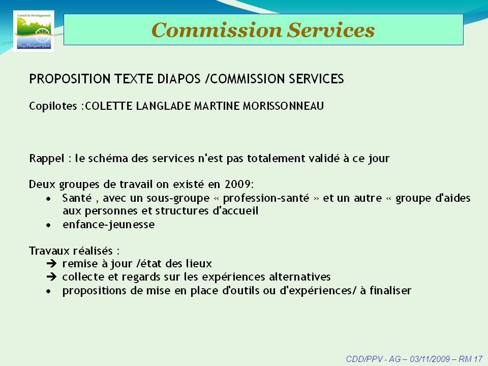 CDD/PPV - AG – 03/11/2009 – RM 18 Commission Services