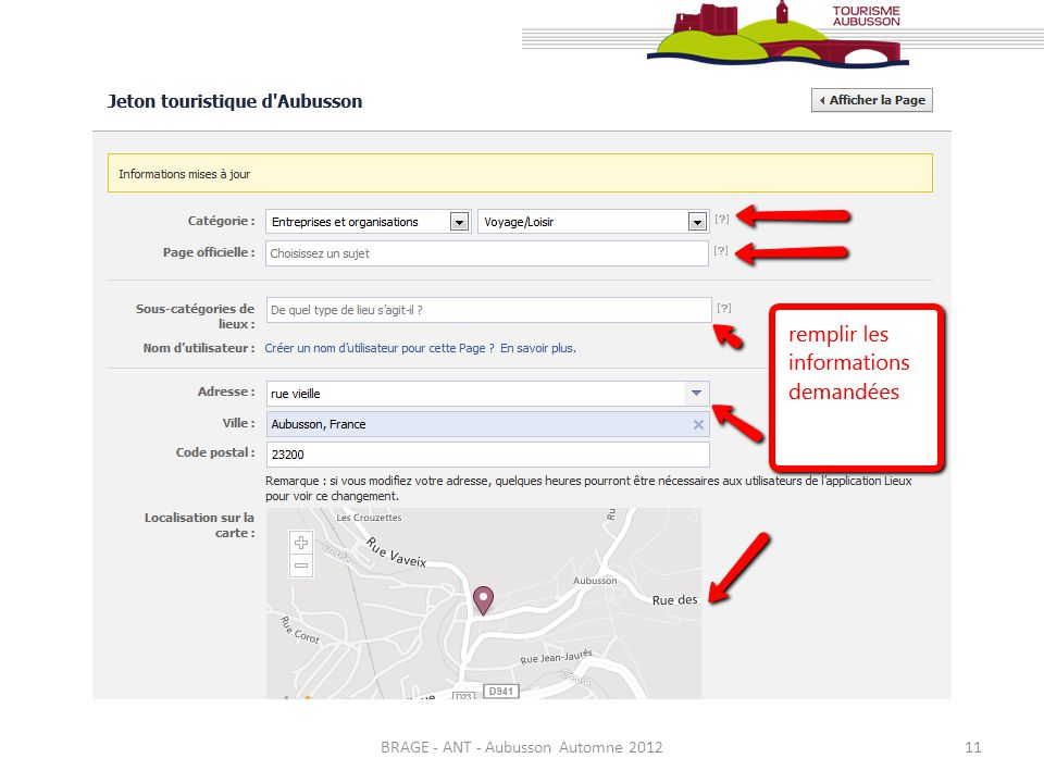 BRAGE - ANT - Aubusson Automne 201212 A gauche, un Menu vous permet daccéder à différentes options.