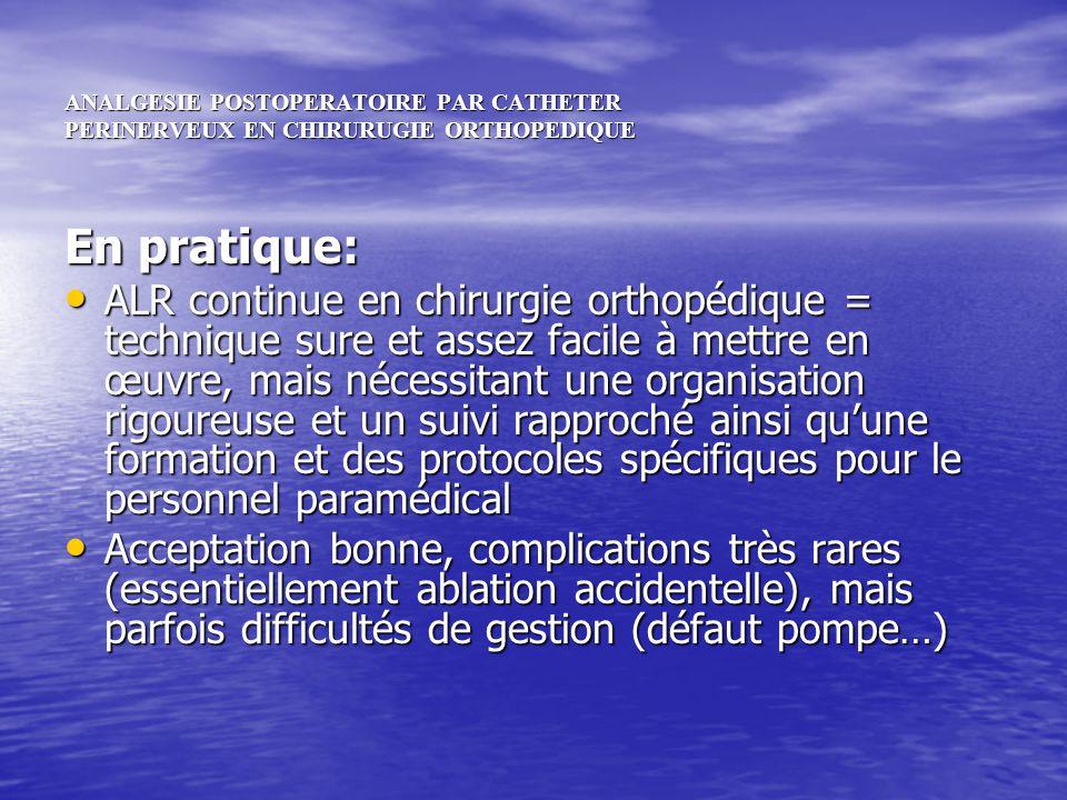 ANALGESIE POSTOPERATOIRE PAR CATHETER PERINERVEUX EN CHIRURUGIE ORTHOPEDIQUE En résumé, on peut considérer comme technique idéale en chirurgie orthopédique lourde Une ALR continue en mode PCRA, associée à Une ALR continue en mode PCRA, associée à Une analgésie par voie générale du palier 1 ou 2, idéalement par voie orale, avec mise à disposition dune administration autocontrôlée dinterdoses de morphine (protocole ACTISKENAN®) Une analgésie par voie générale du palier 1 ou 2, idéalement par voie orale, avec mise à disposition dune administration autocontrôlée dinterdoses de morphine (protocole ACTISKENAN®)