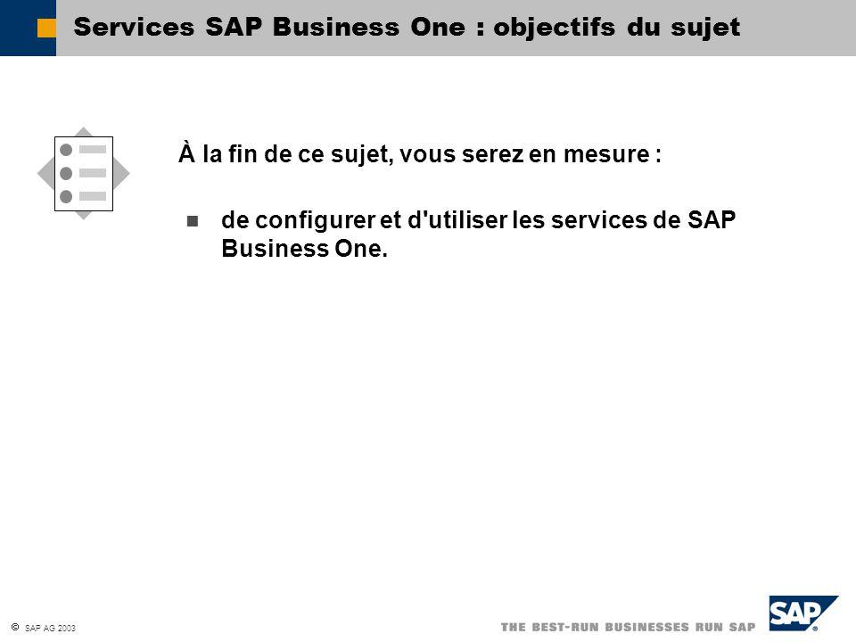  SAP AG 2003 SAP Business One Service Manager Double-clic Démarrage du service Pause du service Arrêt du service Définition du service Sélection du service