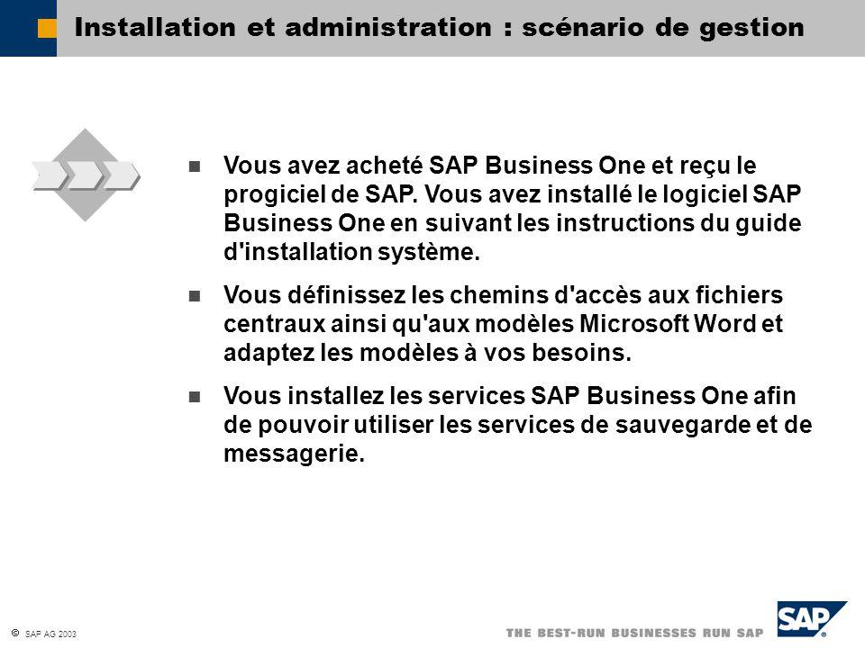  SAP AG 2003 Installation et montée de version : objectifs du sujet d installer SAP Business One ; d exécuter une montée de version de SAP Business One.