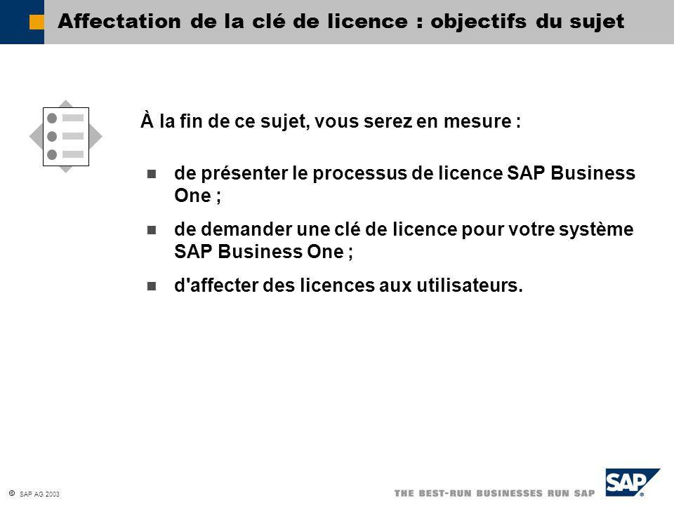  SAP AG 2003 Gestionnaire de licences Serveur test SAP Business One Serveur de production Serveur de développement SAP Business One Gestionnaire de licences Fichier de licence Clients SAP Business One Solutions SAP Add-On Solutions add-on partenaire