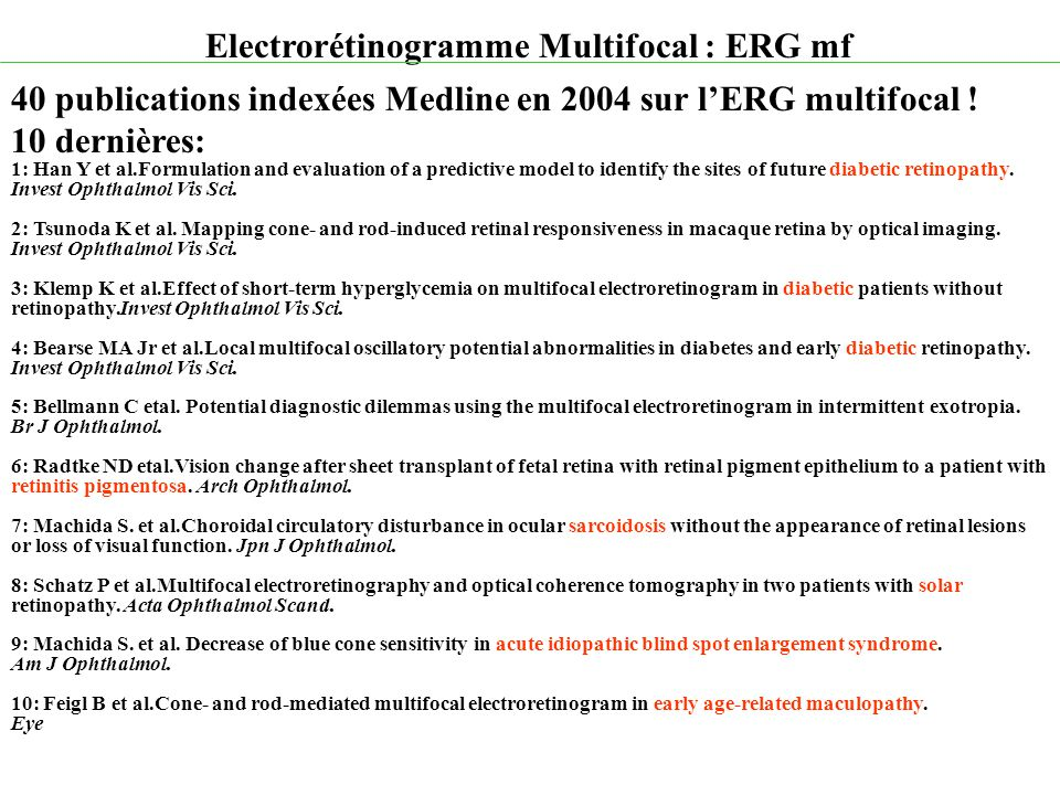 Electrorétinogramme Multifocal : ERG mf Introduction Principe Réalisation pratique Indications Quelques Exemples Cliniques Perspectives