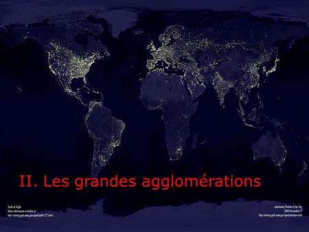 II. Les grandes agglomérations