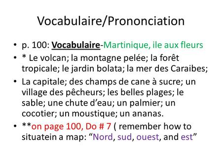 Vocabulaire/Prononciation