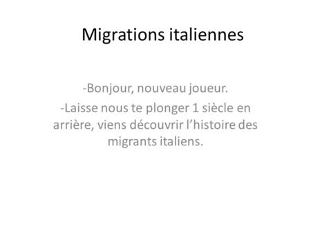 Migrations italiennes