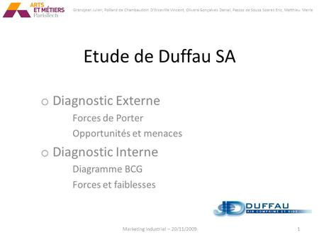 Etude de Duffau SA o Diagnostic Externe Forces de Porter Opportunités et menaces o Diagnostic Interne Diagramme BCG Forces et faiblesses 1Marketing Industriel.