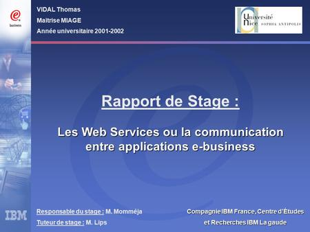 Rapport de Stage : Les Web Services ou la communication