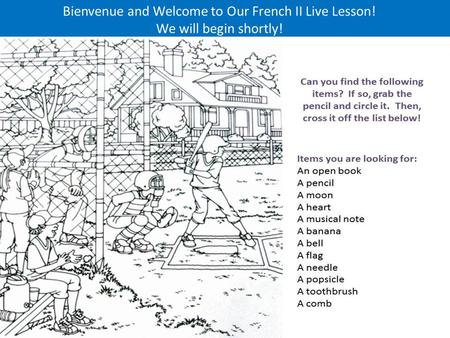 Bienvenue and Welcome to Our French II Live Lesson! We will begin shortly!