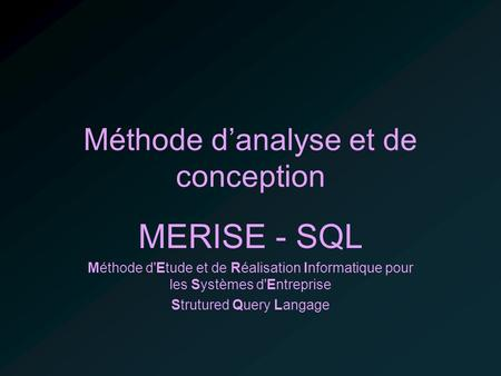 Méthode d'analyse et de conception