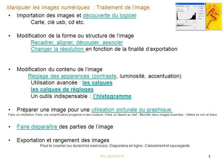 manipuler les images num233riques traitement de limage 1