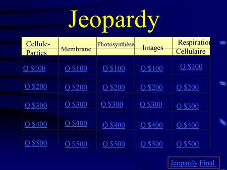 Jeopardy Cellule- Parties Membrane Photosynthèse Images Respiration Cellulaire Q $100 Q $200 Q $300 Q $400 Q $500 Q $100 Q $200 Q $300 Q $400 Q $500 JeopardyJeopardy.