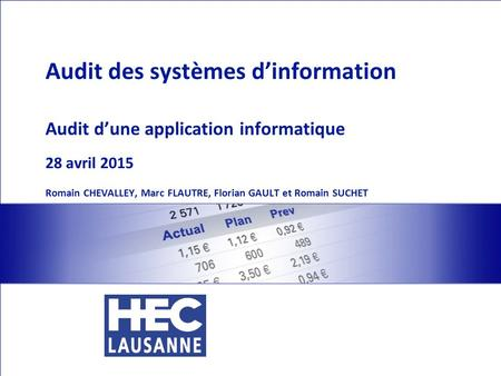 Situation : mise en place d'une application permettant la gestion de l'inventaire Audit IT Romain CHEVALLEY, Marc FLAUTRE, Florian GAULT et Romain SUCHET.