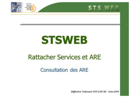 Diffusion Nationale TOULOUSE –Juin 2009 STSWEB Rattacher Services et ARE Consultation des ARE.