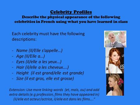 Each celebrity must have the following descriptions: