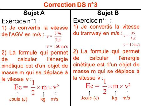 Correction DS n°3 Sujet A Sujet B