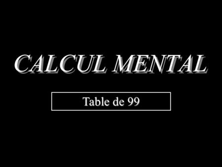 CALCUL MENTAL Table de 99 a  99 = a  (100 – 1) = a  100 – a  1 = 100 a – a donc pour multiplier par 99, il suffit de multiplier un nombre par 100.