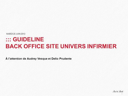 1 ::: GUIDELINE BACK OFFICE SITE UNIVERS INFIRMIER À l'attention de Audrey Vesque et Delio Prudente MARDI 25 JUIN 2013.