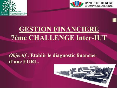 GESTION FINANCIERE 7ème CHALLENGE Inter-IUT Objectif : Etablir le diagnostic financier d'une EURL.
