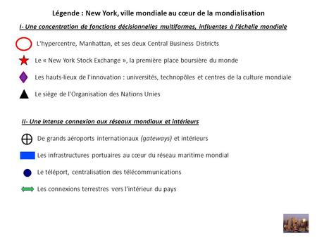 I- Une concentration de fonctions décisionnelles multiformes, influentes à l'échelle mondiale L'hypercentre, Manhattan, et ses deux Central Business Districts.