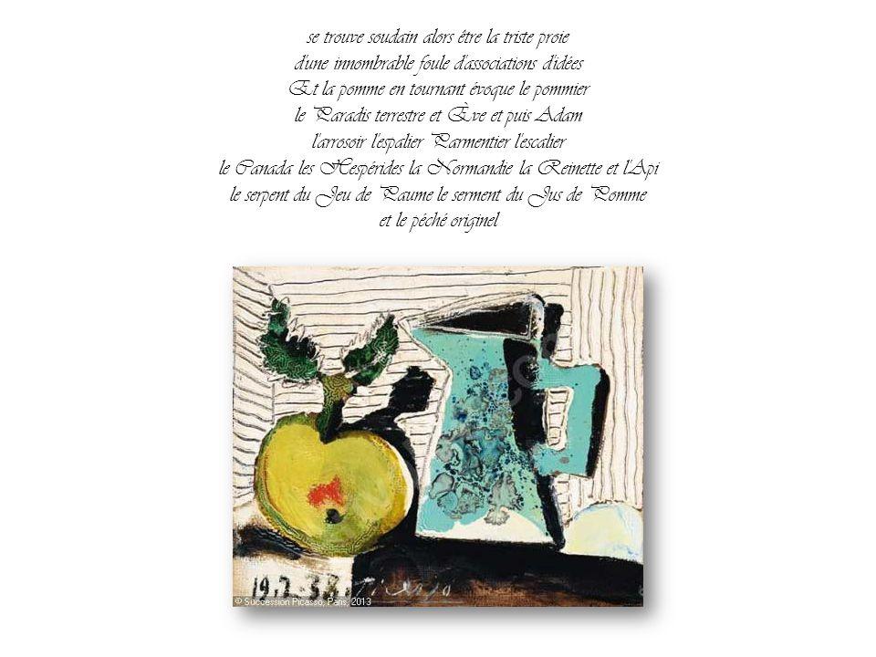 se trouve soudain alors être la triste proie d une innombrable foule d associations d idées Et la pomme en tournant évoque le pommier le Paradis terrestre et Ève et puis Adam l arrosoir l espalier Parmentier l escalier le Canada les Hespérides la Normandie la Reinette et l Api le serpent du Jeu de Paume le serment du Jus de Pomme et le péché originel