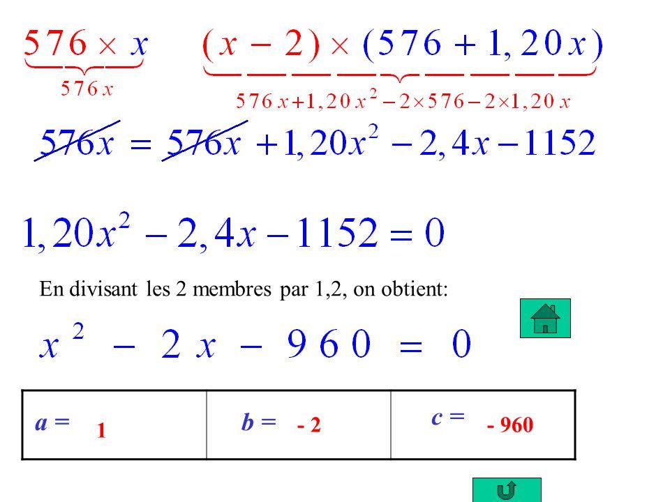 3. Résolution de léquation: Calcul du discriminant: Léquation admet 2 solutions: