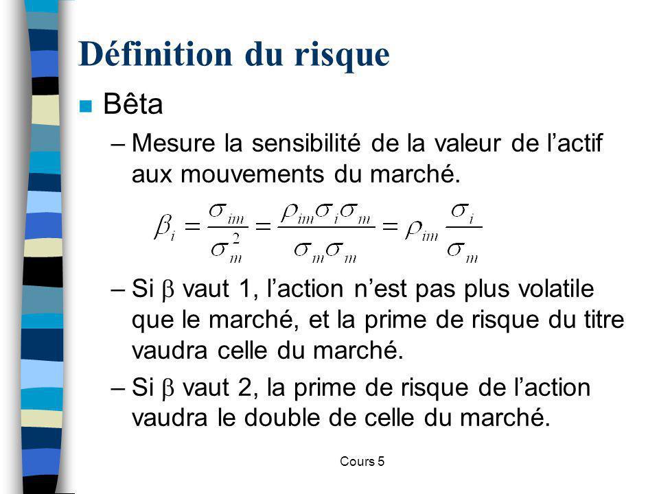 Cours 5 Définition du risque n Avec le bêta, on peut donc déterminer le taux dactualisation correct dun actif, pour le calcul de sa valeur présente :