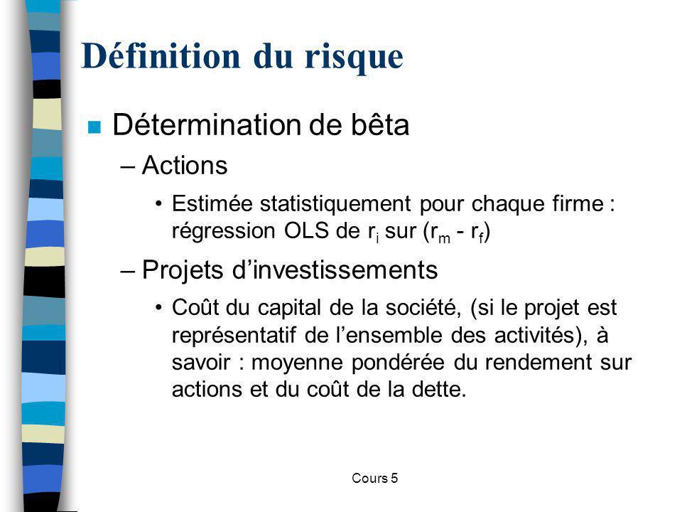 Cours 5 Décisions dinvestissement n Remarque : les consommateurs peuvent opérer le même raisonnement lors de lachat dun bien durable.