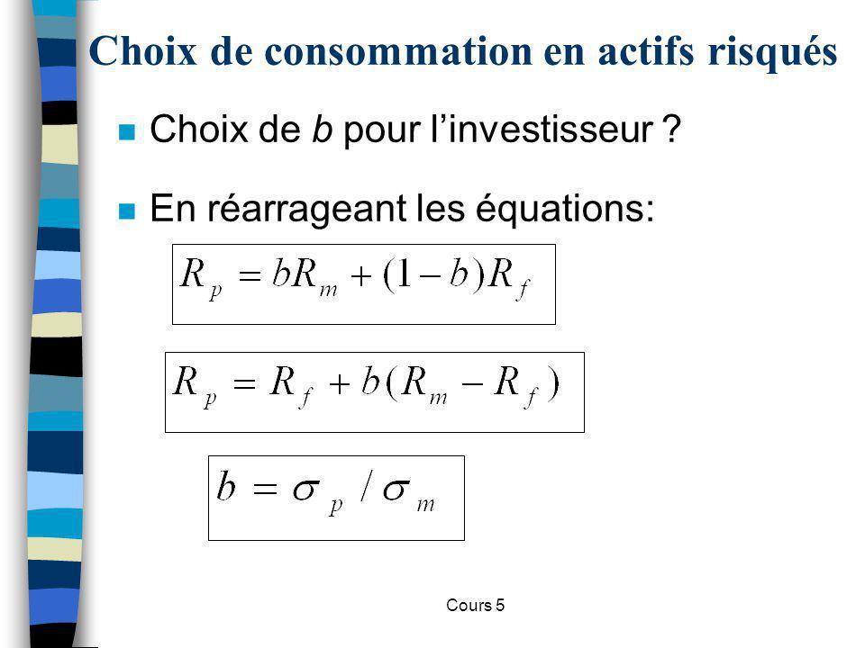 Cours 5 Choix de consommation en actifs risqués n On obtient : m –Cette équation est la droite de budget décrivant le trade-off entre le risque du portefeuille et son rendement attendu.