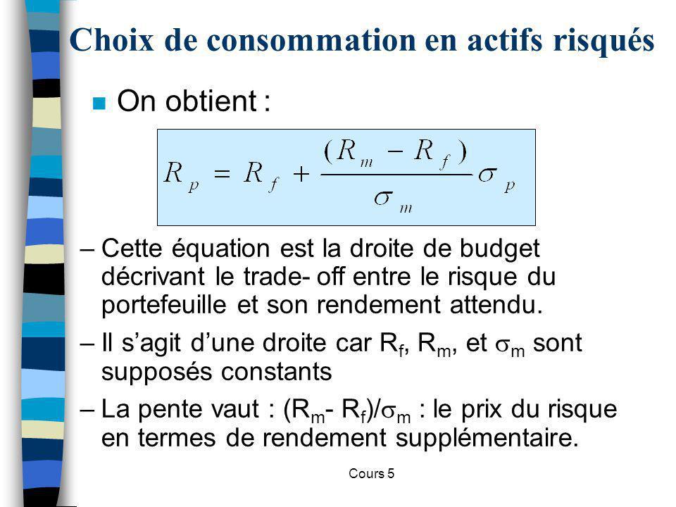 Cours 5 Choix de consommation en actifs risqués 0 Rendement R p RfRf Droite de budget RmRm R*R* U2U2 U1U1 U3U3 Risque, p A chaque R* correspond un b, une proportion d actifs risqués.
