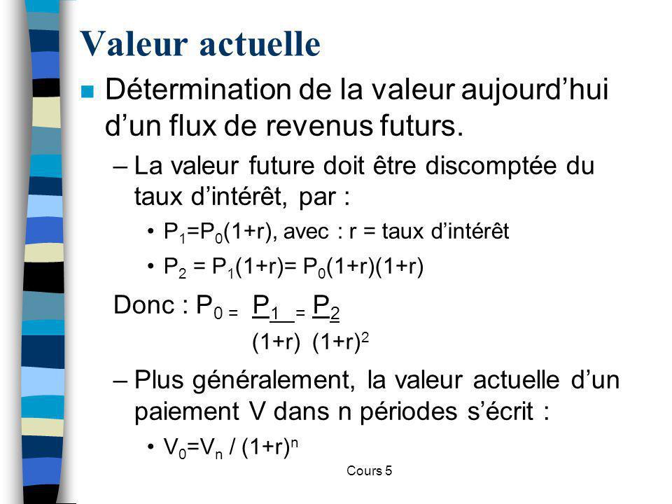 Cours 5 Valeur actuelle n Choix entre deux flux de paiement Flux 1 Flux 2 Aujourd huiT1T2 1001000 20100100 VA (flux 1) = 100 + 100/(1+r) + 0/(1+r) 2 VA (flux 2) = 20 + 100 /(1+r) + 100/(1+r) 2 La valeur actuelle dépend du niveau de taux d intérêt.