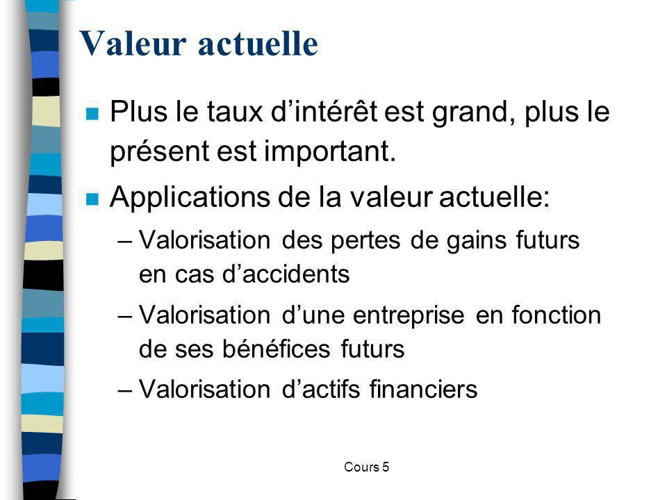 Cours 5 n Actif –Bien qui produit un flux de revenus ou un service à son propriétaire.