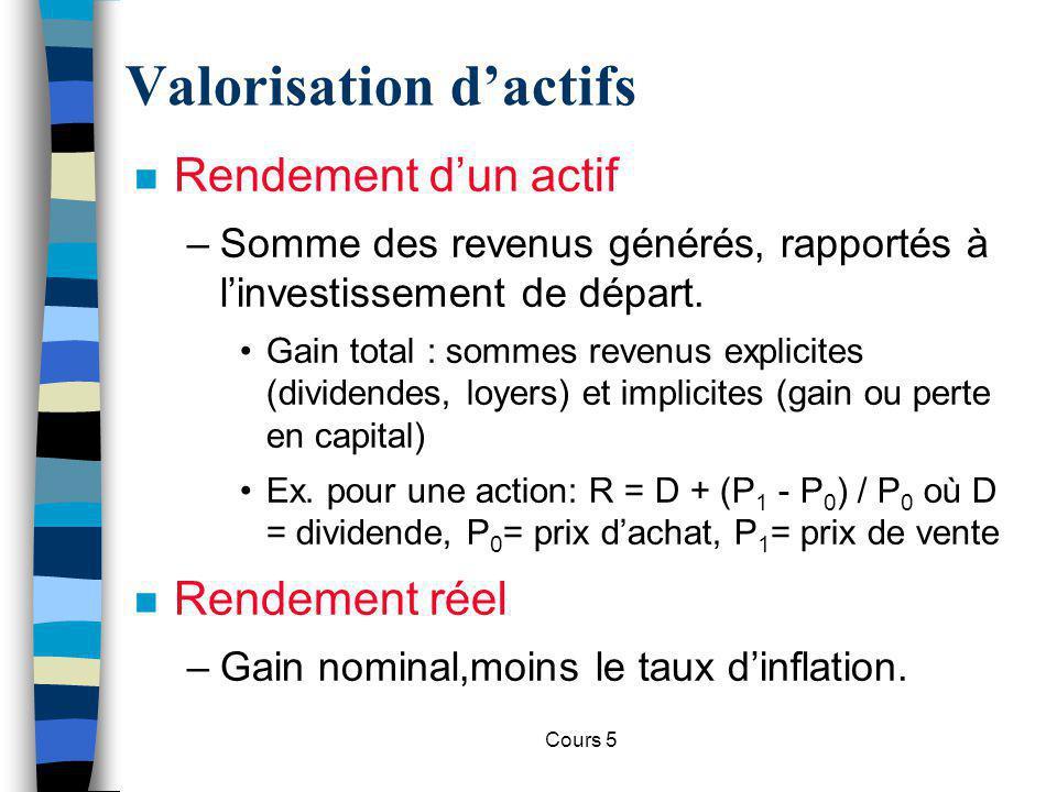 Cours 5 Valeur dune obligation n Prix dune obligation = valeur actualisées de ses flux de revenus.