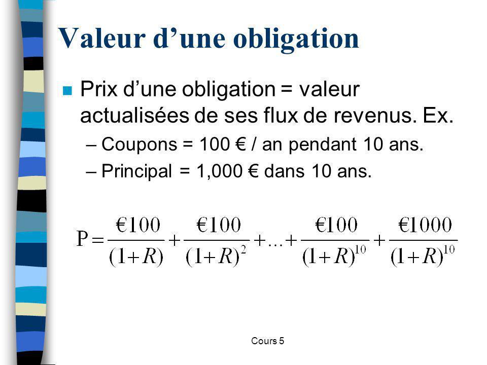 Cours 5 Valeur dune obligation n Perpétuités –Une perpétuitié est une obligation sans remboursement du principal, uniquement constituée du paiement des coupons.