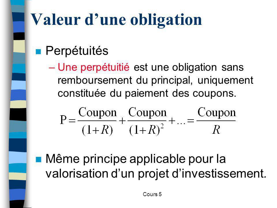 Cours 5 Critère de la VAN n VAN (Valeur actuelle nette) dun projet = somme de ses revenus futurs actualisés, moins la somme de départ.