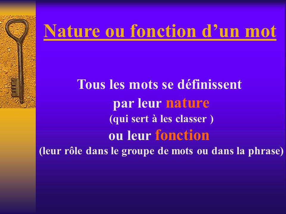 Nature ou fonction dun mot Tous les mots se définissent par leur nature (qui sert à les classer ) ou leur fonction (leur rôle dans le groupe de mots ou dans la phrase)