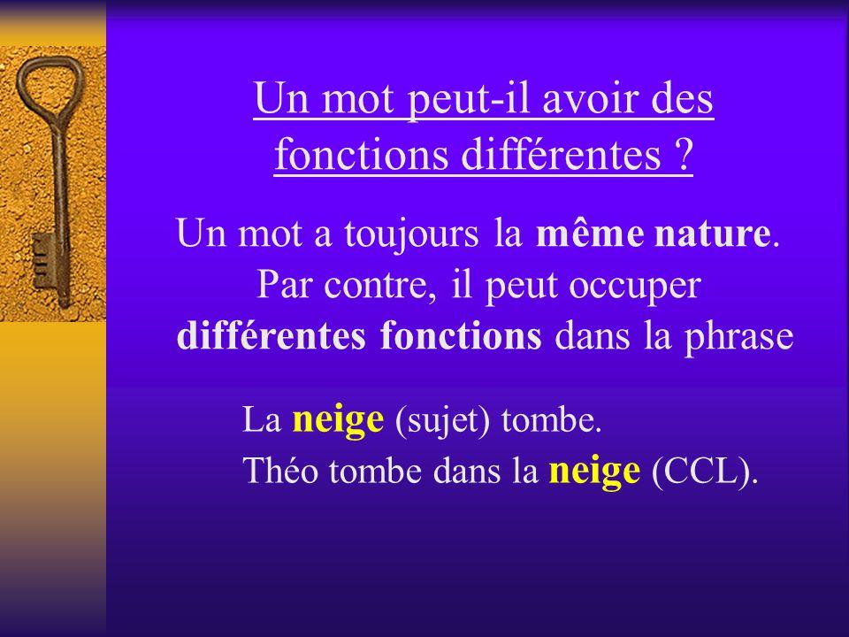 Un mot peut-il avoir des fonctions différentes .Un mot a toujours la même nature.