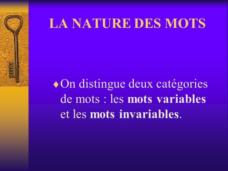 LA NATURE DES MOTS On distingue deux catégories de mots : les mots variables et les mots invariables.