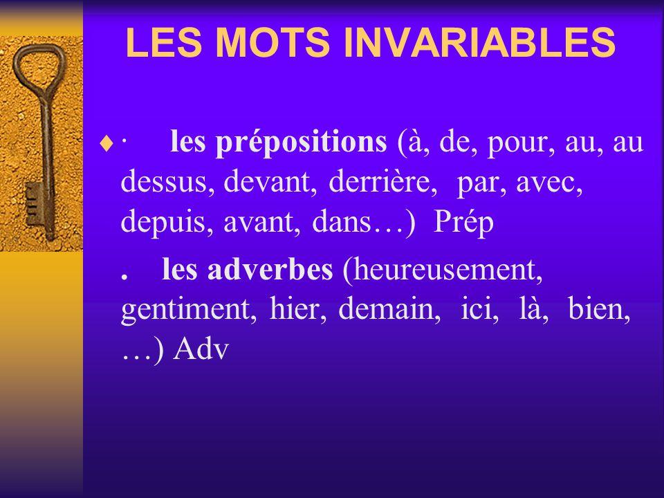 LES MOTS INVARIABLES · les prépositions (à, de, pour, au, au dessus, devant, derrière, par, avec, depuis, avant, dans…) Prép.les adverbes (heureusement, gentiment, hier, demain, ici, là, bien, …) Adv