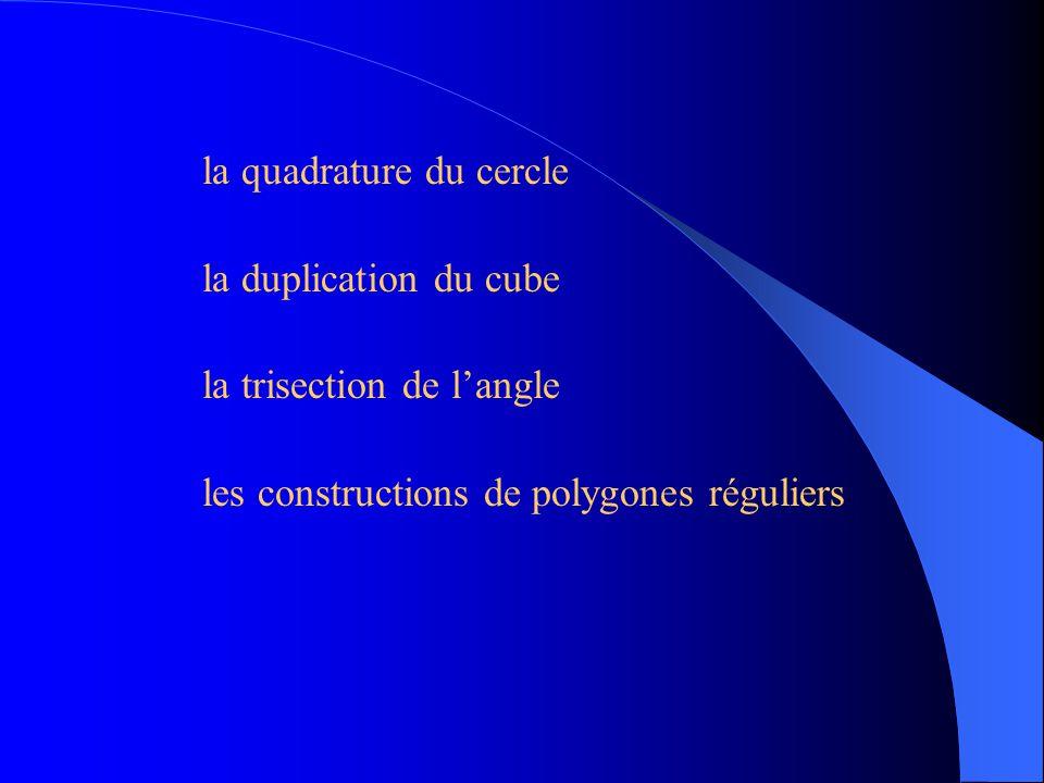 Tous ces problèmes sont des problèmes de constructions à la règle (non graduée) et au compas.